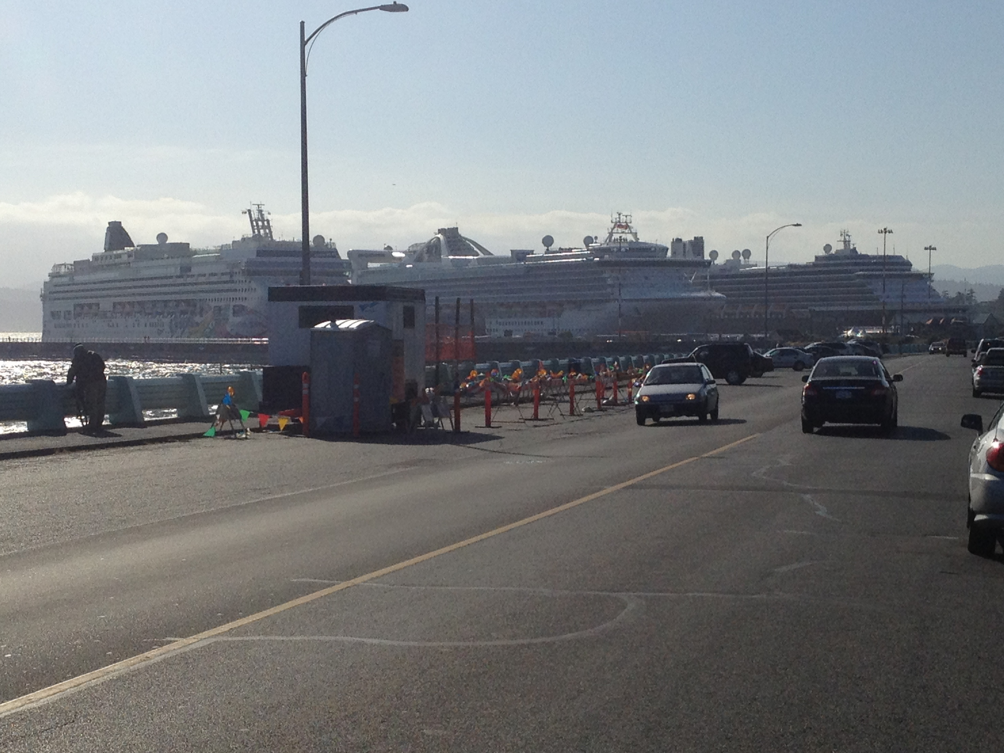 Cruise ships at Ogden Point. A short walk from Gingerbread Cottage